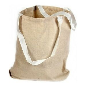 """18 Canvas Tote Bags Eco Natural Color Large 13""""X9"""" Shopping Blank Craft School"""