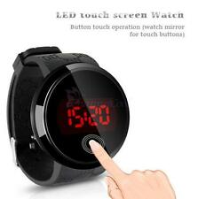 Fashion Men's Date Day Sport Red LED Touch Screen Round Dial Wrist Watch Black