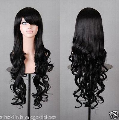 """80cm/31"""" Long Black Wig Cosplay Animem Fringe Roll Curls Wavy Hair Straight Wig"""