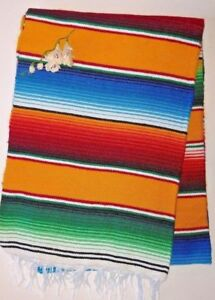 "Yellow Serape Blanket Yellow with Multicolored stripes white fringe XL 86"" X 62"""