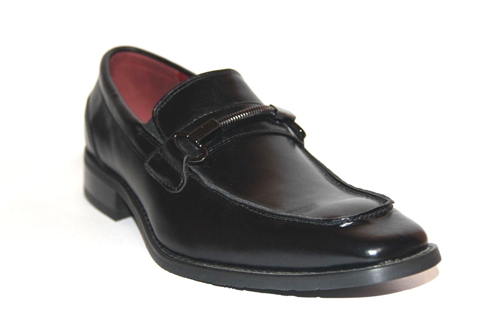 NXT MEN'S SLIP ON SHOES BLACK LEATHER DRESS LOAFER SHOES ON  N2723 c36c6f