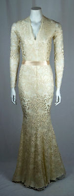 Baylis Knight Low Cut Cream Nude Lace Fishtail Long Sleeve Maxi Dress Gown Dita Preisnachlass