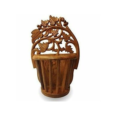 Wooden Sheesham Wood Beautiful Hand Carved 10 Wall Hanging Flower Vase Gift Item