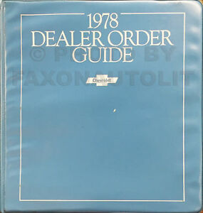 1978 Chevy Order Guide Dealer Album Detailed Standard Equipment and