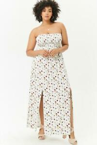 Forever-21-Ivory-Red-Plus-Size-M-slit-Floral-Maxi-Dress-3X