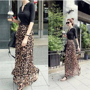 Retro-Women-Chiffon-Pleated-Leopard-Long-Maxi-Dress-Summer-Beach-Skirt-Fashion