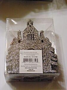 12 Silver Glitter Story Book Castle Ornament Christmas Decoration