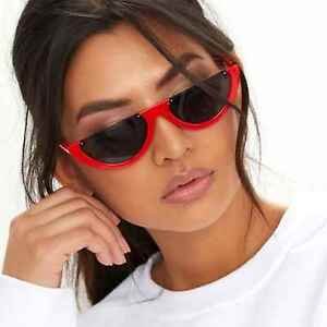 a3cb1122cf6aa Image is loading Designer-Inspired-Rounded-Half-Frames-Retro-Sunglasses- Black-