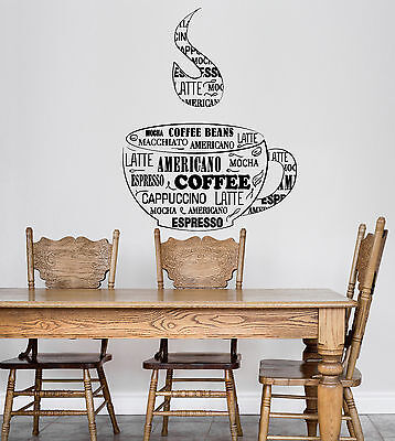 Vinyl Wall Decal Coffee Cup Shop Words Kitchen Dining Room Ig4819 Ebay