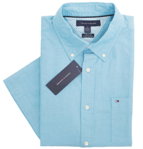 $0 Free Ship Tommy Hilfiger Men/'s Short Sleeve Button-Down Casual Shirt