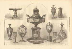 1871-ANTIQUE-PRINT-WORCESTER-PORCELAIN-IN-THE-INTERNATIONAL-EXHIBITION