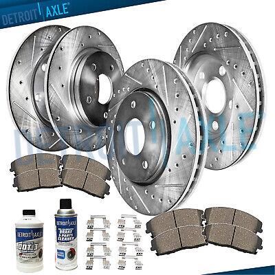 Fit 2006-2008 Toyota RAV4 Front Sport Drill Slot Brake Rotors+Ceramic Brake Pads