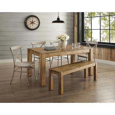 6 Piece Brown Rustic Dining Table Bench White Chairs Set Home Living Furniture Ebay