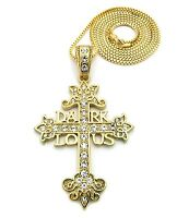 Iced Out Dark Lotus Cross Pendant &2mm/36 Box Chain Hip Hop Necklace Rc506