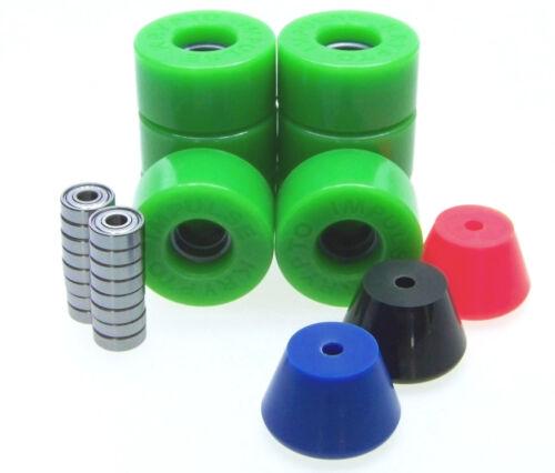 Rollschuh Rollen / Stopper / ABEC Lager Set  Disco Roller Skate Impulse GREEN