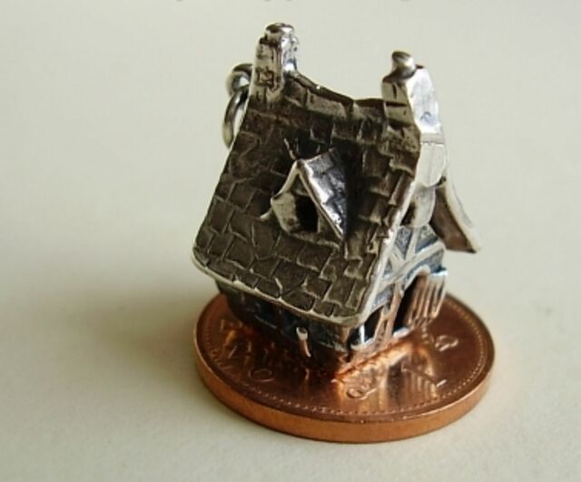 SUPERB ' HAUNTED HOUSE ' STERLING SILVER CHARM WITH GHOST INSIDE