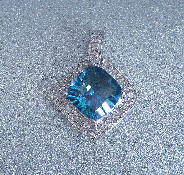 10K Solid White gold Cushion Cut bluee Topaz Diamond 2.28ctw Slider Pendant