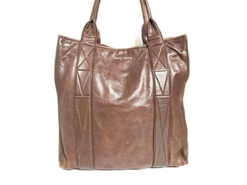 Auth miumiu DarkBrown Leather Tote Bag