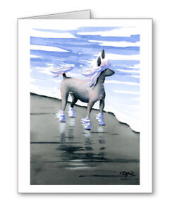 GREYHOUND AT THE BEACH Set of 10 Note Cards With Envelopes