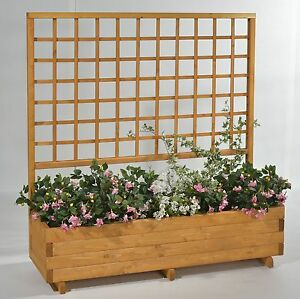 blumenkasten mit spalier rasenkanten mit rankgitter aus holz ebay. Black Bedroom Furniture Sets. Home Design Ideas