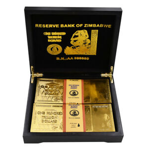 Festival-Gifts-24k-999-9-Gold-Foil-Zimbabwe-Gold-Gold-Banknote-100pcs-In-Box