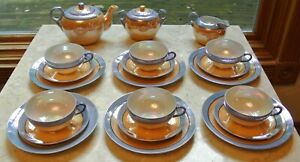 Vtge-Takito-Tea-Set-for-Six-Blue-and-Peach-Lusterware-Made-in-Japan