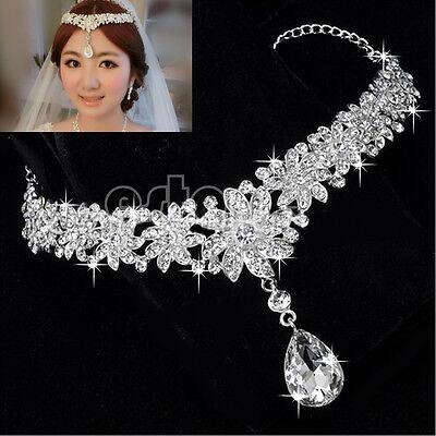 New Wedding Tiara Bridal Prom Rhinestone Crystal Flower Crown Frontlet Headpiece