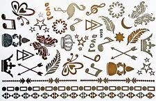 Tattoo Einmal Flash Klebe Temporary Gold Silber 43teile Body Armband Kette E44