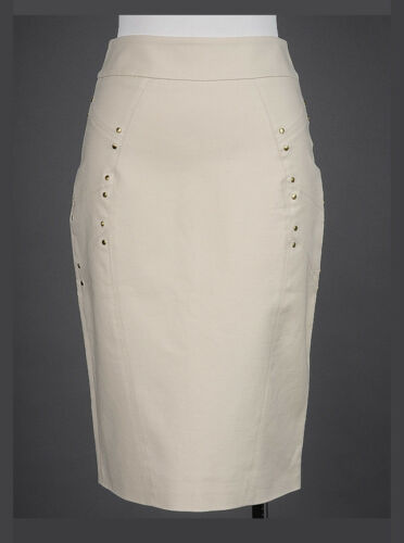 VERSACE Ivory Studded Cotton Pencil SKIRT IT-38