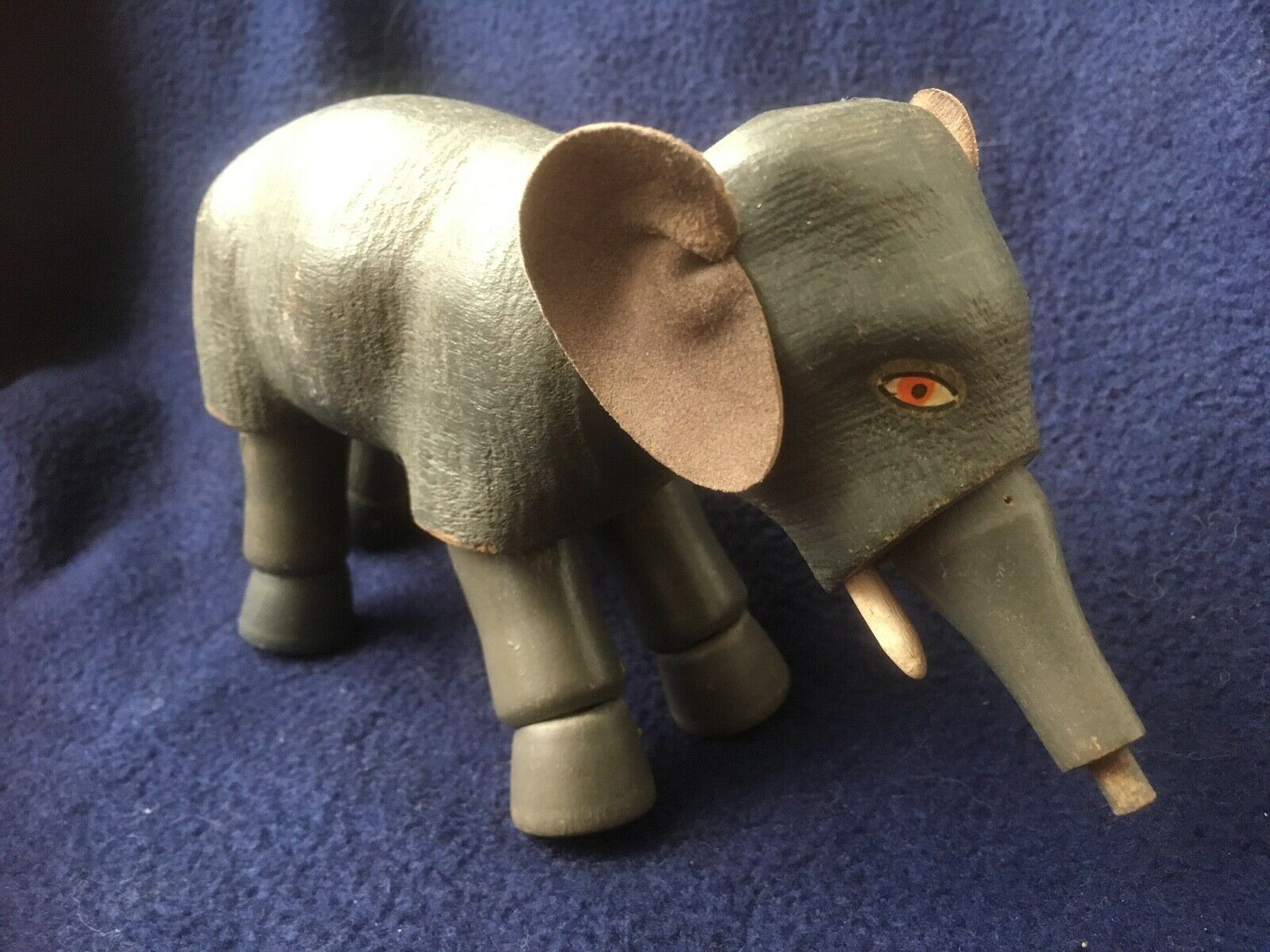 Antique Schoenhut Circus Elephant Painted Eyes Leather Ears NM