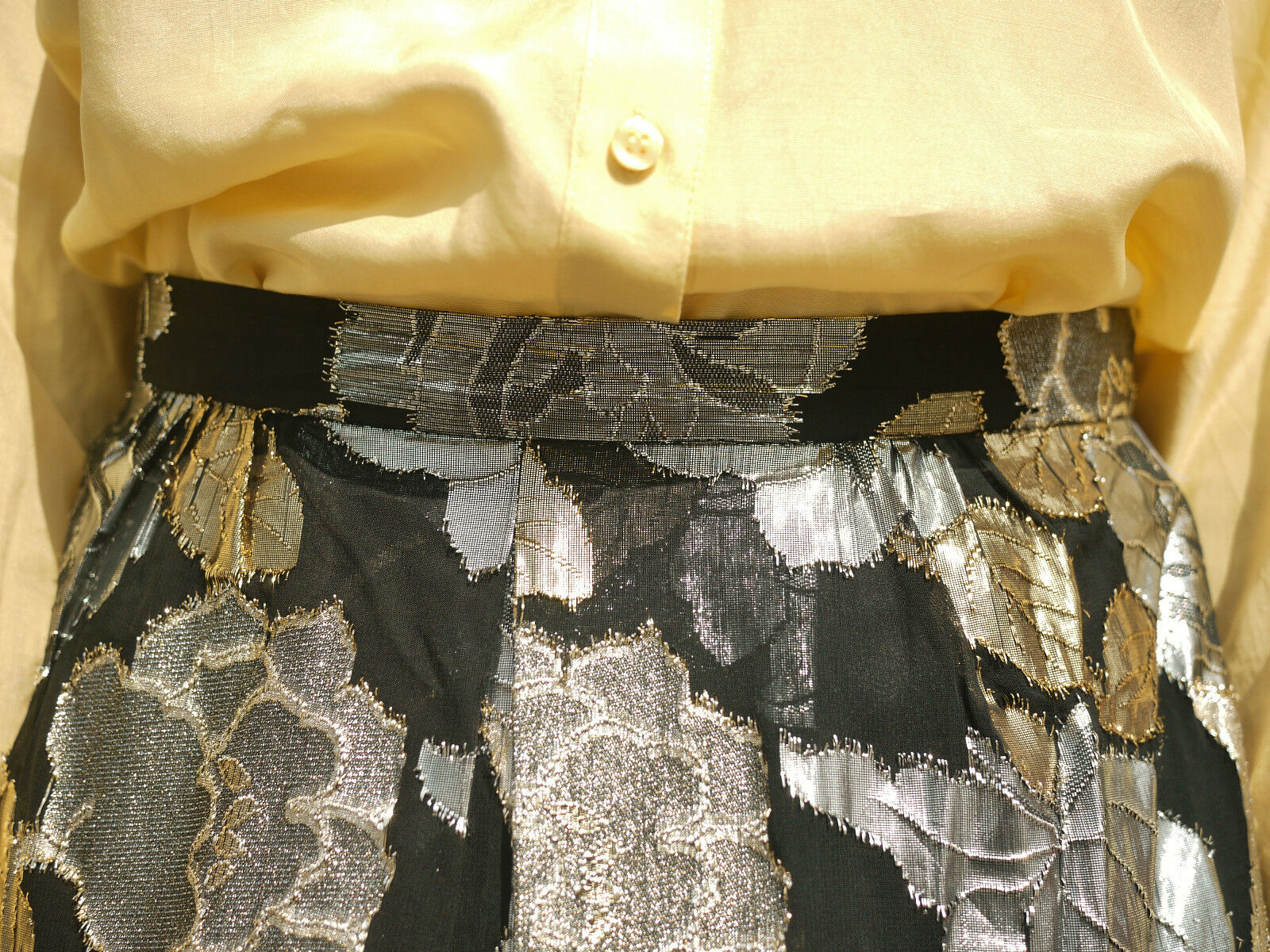 Donna gonna fiori oro oro oro argento 90er True Vintage 90's SKIRT METALLIC FLOWER 2d8ad0