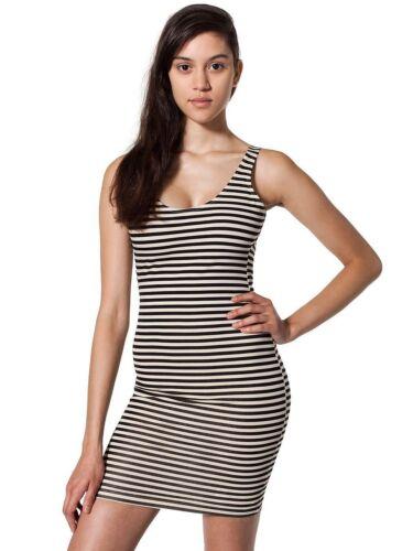 American Apparel cotton spandex Jersey scoop Back tank dress Natural-Black strp