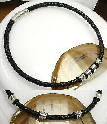 Edelstahl Leder Halsband Herren 50cm Schwarz 4x Beads Dabei 6 Bändern Geflochten