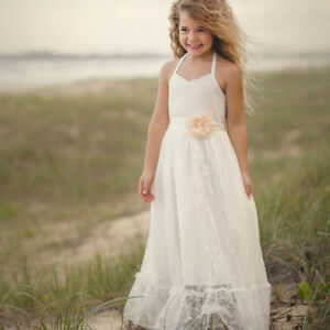 Flower Girl Dress Princess Special Occasion Lace Maxi Sash