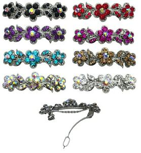 Bella-Flower-Barrette-Hair-Clip-w-French-Clasp-and-Sparkling-Stones-U86250-1338
