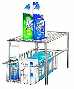 'Under-The-Sink-Organizer-Storage-Kitchen-Cabinet-Shelf-Basket-Drawer-Bathroom' from the web at 'https://i.ebayimg.com/images/g/xkkAAOSwkShY~y5b/s-l300.jpg'