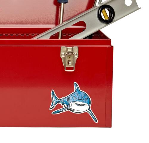2 x Great White Shark Sticker Car Bike iPad Laptop Decal Diver Skate Gift #4115