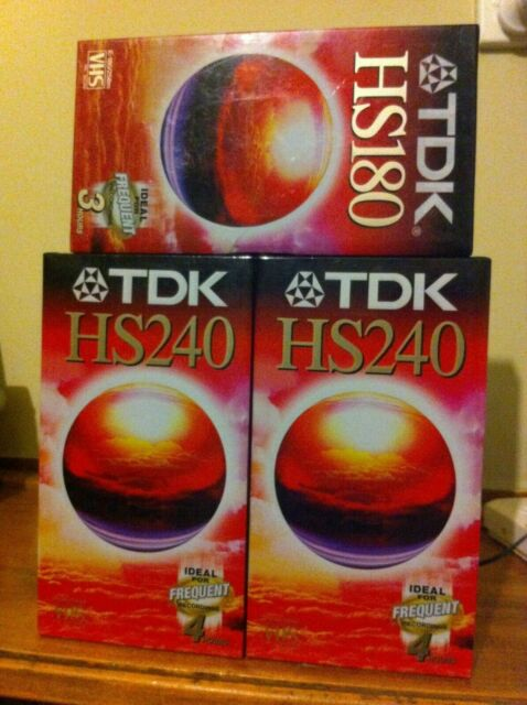 TDK HS240 HS180 VHS 3 Blank New Sealed 3 4 hours VCR for frequent recording