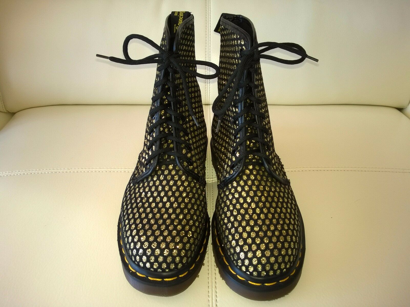 DOC DR MARTENS GOLD GLITTER BLACK FISHNET FISHNET FISHNET BOOTS RARE VINTAGE MADE IN ENGLAND 5UK 258401