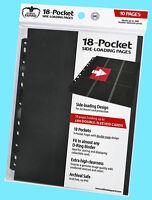 10 Ultimate Guard 18-pocket Black Side Loading Card Pages Storage Sheets Binder