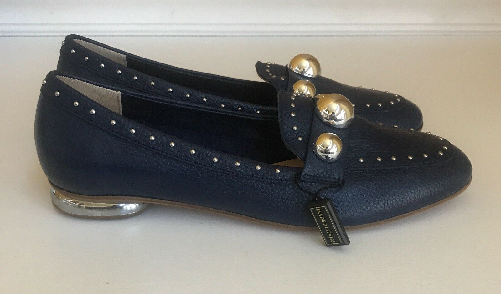 NAPOLEONI Navy Loafers With argent Studs Accent femmes femmes femmes Taille 6.5M   37 fe64a8
