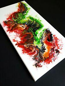 "ACRYLIC PAINTING ORIGINAL ARTWORK 10"" x 20"" CANVAS ABSTRACT ART WALL DECOR"