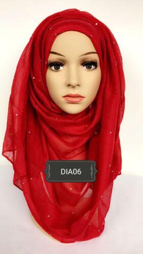 TESTINA di Stampa Hijab Sciarpa Maxi Chiffon Jersey crimpare cotone viscosa DIAMANTATI DIA06