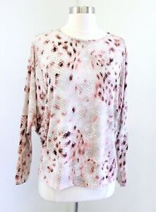 Clara Sun Woo Abstract Snakeskin Print Wide Batwing Sleeve Top Blouse Size S