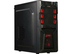 DIYPC Solo-T2-R Black USB 3.0 ATX Mid Tower Gaming Computer Case with 2 x Red Fa