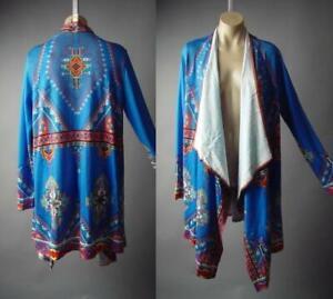 Moroccan-Ethnic-Pattern-Hippie-Bohemian-Blue-Long-Cardigan-296-mvp-Jacket-S-M-L