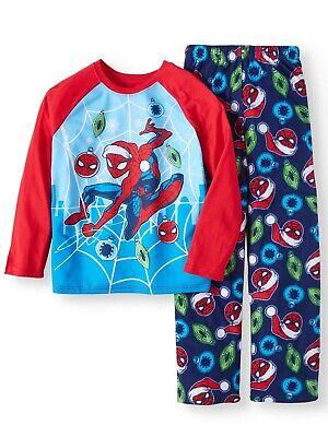 Marvel Spider-Man 2 PC Long Sleeve Fleece Pajama Set Boy Size 6