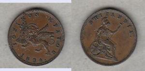 Erhaltung-Cu-1-Lepton-1834-Ionische-Inseln-Britische-Verwaltung-Griechenland