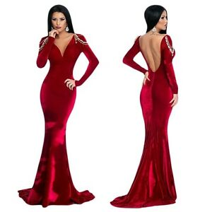 abendkleid ball verlobung meerjungfrau damen kleid samt schulterketten lang rot ebay. Black Bedroom Furniture Sets. Home Design Ideas