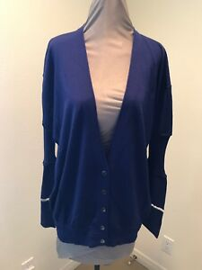 Alexander Wang Royal Blue Cardigan Sweater Long Sleeve Size Large ...